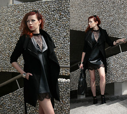 Jesuswannatouchme . - Choies Leather Dress With Lace Hem, Choies Pointed High Heeled Sandals, Zara Wool Coat, Vintage Leather Bag - DARKSTALKER // jesuswannatouchme.