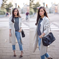 Levi Nguyen - Trench/Dust Coat, Similar Here:, Boyfriend Jeans, Similar Here:, Striped Top, Same Here: - CREAMY