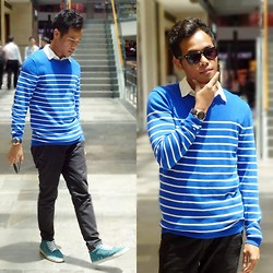 "Irwan Shah . - Ray Ban Shades, Lowrys Farm White S/S Shirt, Gap Blue Stripes Sweater, Fossil ""Fs4835"" Watch, Topman Black Slim Fit Chino, Lacoste 3/4 Sneakers - Sweater weather"