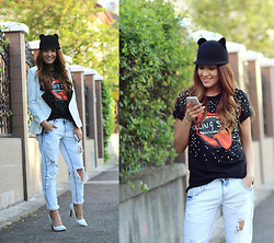 Sandra Bendre - Abaday Tshirt, Mart Of China Heels, Sheinside Blazer - Pearls and ripped jeans
