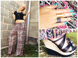 Signe Savant - Deb Tribal Print Palazzos, Deb Crop Top, Deb Black Wedges, Swallow's Heart Bullet Necklace, Amy Waltz Designs Stacking Rings - In love with Jim Morrison...