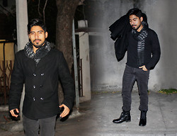 Pepe Vela - Bershka Scarves, Dkny Coat, Levi's® Jean, Gap Sweater, Call It Spring Boots - Black is the new black