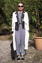 Jane S - H&M Trench, Mango Jacket, American Apparel Jumpsuit, Nike Sneakers, American Apparel Bag - Jumpsuit meets trench.