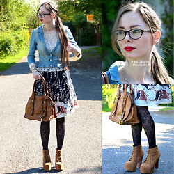 ☽Emī Silberīn Mānelieht☾ - Kayla Shoes Lita Style Platforms, Fossil Tan Leather Satchel, H&M Floral Print Skirt, H&M Lace Top, H&M Jean Jacket, Netzoptiker Panto Glasses - ✛ THERE IS NOTHING NEW EXCEPT WHAT HAS BEEN FORGOTTEN