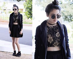 Gabriela Araujo - H&M Sunnies, Gap Cardi, Diy Skirt, Topshop Black Socks, Forever 21 Bag, T.U.K. Creepers - Spiderhead