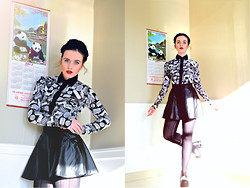 ♡ SACPUN ♡ - Thrifted Blouse, Leather Skirt, Thrifted Chunky Shoes - Fancy