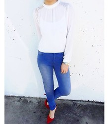 Winnie S - Forever 21 Top, Cheap Monday Jeans, Sportsgirl Shoes - Lace + Denim