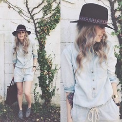 Mary Ellen Skye - Anthropologie Shoes, Madewell Bag, Madewell Playsuit, Anthropologie Hat - Hey