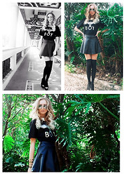 Yana Kim - Bershka Pendant, Boy London Tee Shirt, Forever 21 Leather Skirt, Forever 21 Bangle, Ray Ban Sunglasses, H&M Stockings - Black star=)