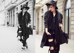 Natalie K - Choies Hat, Gina Tricot Coat, Blackfive Shirt, H&M Jeans, Vans Shoes - Off the wall /// charlotte rouge