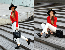 Aiste Jucaite - H&M Hat, Vero Moda Blouse, Stradivarius Pants, Second Hand Shoes, Primark Handbag - Pop Of Red