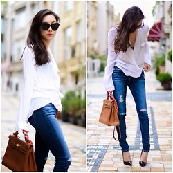 Monica W - Michael Star Similar Blouse, Adriano Goldschmied Jeans, Hermës Hermes Kelly 32 - AG Skinny ankle jeans