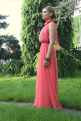 Valeria Arizzi - Oasap Coral Pink Chiffon Dress - Summer preview