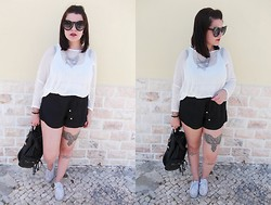 Black Rose - Primark Necklace, Primark Sweater, Zara Shorts, Giant Vintage Sunglasses - Casual sunday