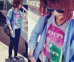 Rika J. - Asos Necklace, Uniqlo T Shirt, Forever 21 Jewelry, H&M Jewelry - Layers Of Colors