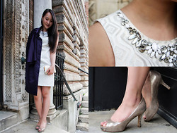 Areta Chen - White House Black Market Metallic Jacquard Shift Dress, Simply Vera Wang Satin Trench Coat, Kate Spade Cobble Hill Wallet, Via Spiga Metallic Peep Toe Heel - Cocktails at Lunch