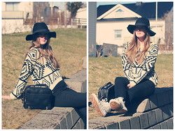 Christine Iversen - Romwe Bowknot Vintage Black Hat, Sheinside Long Sleeve Geometric Sweater, Zara Vanity Case With Zips, Stylish Plus White Studded Sneakers, Gina Tricot Cornelia Highwaist Pants - Aztec