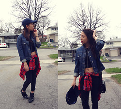 Joyce H - Jacob Annex Denim Jacket, American Eagle Crop Top, Ankle Boots, American Eagle Jeggings, Abercombie & Fitch Plaid Shirt - 03 cloudy days