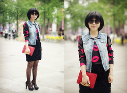 Eva Wang - Bershka Denim Vest, H&M Lips Top, Ochirly Flouncing Pencil Skirt, Moschino Label French Purse, Chanel Round Sunglasses, D:Fuse Black Mary Jane - Rosy lips