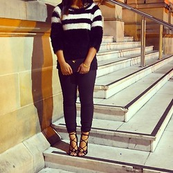 January R - Cue Striped Furry Jumper, Windsor Smith Lace Up Heels, Prada Multicoloured Saffiano Wallet - Stripes