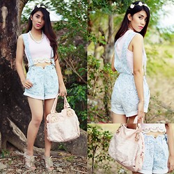 Marjh Collado - Thrifted High Waisted Jumper Shorts W/ Suspenders, Diy Crop Top W/ Lace, Thrifted Floral Crown - Blossom Season