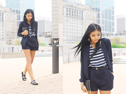 Sharena C. - Le Tote Navy And White Striped Top, Zara Black Slide Sandals - Short Suit