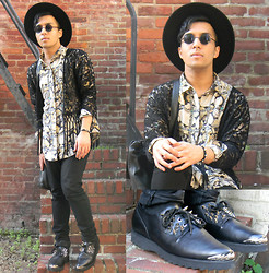 KFK - Vintage Silk Shirt, Windsor Fringe Kimono, H&M Wide Brim Hat, All Saints Leather Bag, Unif Grim Creepers, Asos Spike Bracelet - Warriors