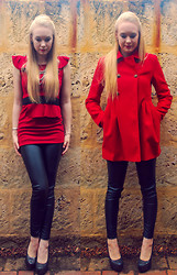 Emily Wilkes - Forever New Red Coat, New Look, Emerson Leather Look Leggings - Storm's Coming