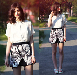 Nora Aradi - Skirt, H&M Shirt, Zara Shoes - Marbled