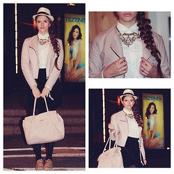 Arina P. - Harrods Bag, Burberry Sneakers, Stradivarius Necklace, United Colors Of Benetton Fluffy Skirt, Ralph Lauren White Blouse, Kawaicat Light Pink Jacket - COMFORTABLE NIGHT OUT