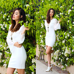 Ruby Park - Charlotte Russe Bell Sleeve Crochet Body Con Dress, Isadora Twisted Chain, Aldo Servana Heels - Float On