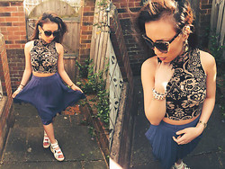 Michelle Erica M. - Candy Top, Primark Pleated Midi, Ebay Sandals, Accessorize Cat Eye Sunglasses - No woman no cry