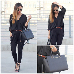 Marilyn N. - Forever 21 Blouse, Harem Pants, Michael Kors Selma - Black is the New Black