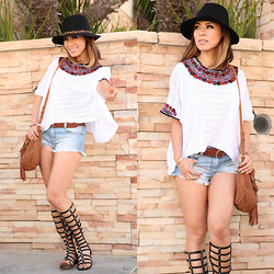 Juting T - Olive & Pique Feather Fedora Hat, For Love & Lemons Embroidered Top, American Eagle Outfitters Brown Belt, Forever 21 Denim Cut Offs, Stuart Weitzman Gladiators, Zara Brown Suede Fringe Bag - Fringe and Gladiators