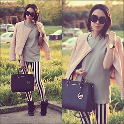 Paris Sue - Michael Kors Bag, Zara Jacket, Romwe Leggings, Daniel Wellington Watch, Boohoo Sunnies - Striped Leggings