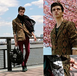 "Matthias C. - Choies Tapestry Blazer, Givenchy Messenger Bag, Asos Burgundy Skinny Jeans, Leather Derby Shoes, Dries Van Noten Oversized Embroidered Scarf - ""Asclépios"""