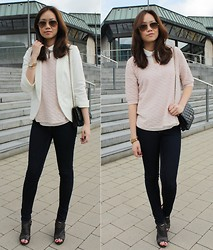 Ly Hoang - French Connection Uk Rose Sweater, Miss Selfridge White Blazer, Abercrombie & Fitch Skinny Jeans, Hugo Boss High Heel Boots, Chanel 2.55, Ray Ban Sunglasses - Business Girl
