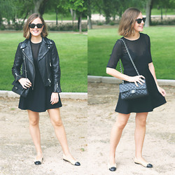 Trini Gonzalez - Ray Ban Sunglasses, The Kooples Dress, The Kooples Leather Jacket, Chanel Bag, Chanel Flats - Spring 2014