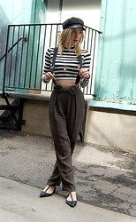 Madi May - Urban Outfitters Newsboy Hat, Forever 21 Crop Top, Giorgio Armani High Waisted Bow Trousers - #girlboss
