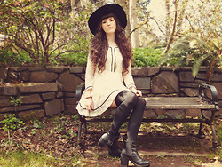 Ashlei Louise . - Banggood.Com Wide Brimmed Hat, Rose Wholesale Chunky Heeled Boots, Romwe Black Contrasting Tights, Romwe Spring Dress - Stones & Gravel