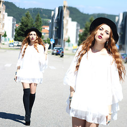 Cátia Gonçalves - Dressvenus White Dress, Parfois Black Hat, Primark High Knee Socks, Zigi Girl Plataform Mary Janes - I'd rather be hated for who I'm, than loved for who I'm not