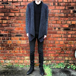 Nathan Dalby - Topman Chelsea Boots, River Island Waterfall Jacket, H&M Knitted Sweater, Asos Black Skinny Jeans - Charcoal Layered.