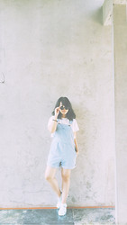 Zahira O - American Apparel Denim Overalls, American Apparel Jelly Shoes, American Apparel Lennon Glasses - American Life