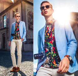 Oliver Lips - Viu Sunglasses, Caruso Blazer, Franklin & Marshall Tropical Printed Shirt, Swatch Leblon Watch, Massimo Dutti Pants, Samsung Nx300 Camera, Kurt Geiger Shoes - How to wear tropical prints (1)