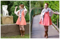 Nicole Ginger - Datura Short Vest, Off Brand Corail Dress, Bijoux Brigitte Skulls & Roses Scarf, New Look Brown Boots - Lady Corail