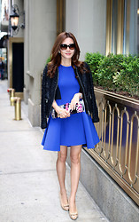 Christina Oh - Dkny Dress, Erderm Jacket, Christian Dior Shoes, Cartier Watch, Coach Bracelet, Chanel Sunglasses - NYC DAY 2: ELECTRIC BLUE