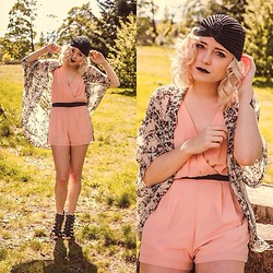 Destiny Millns - Gladiator Sandals, Forever 21 Peach Romper, Lyl Apparel Doorknocker Turban - Birthday suit.