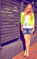 Emily Wilkes - Rosebullet Neon Green Cropped Jacket, Candy Striped Heel, Colette Heyman Coral Necklace, Assorted Coloured Jeweled Bangles, Target Dark Blue Distressed Shorts - Mothers Day Sunshine