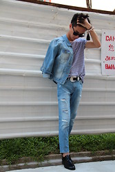 Sean Sadie Tham - Zara Denim Jacket, Topman Brenton Stripe Top, Zara Cropped Jeans, Cos Brogues - Canadian Tuxedo