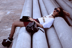 Vu Thien - High Heels Suicide Tee, Sammydress Skirt, Asos Boots, Thrift Store Leather Backpack - OUT OF THIS WORLD